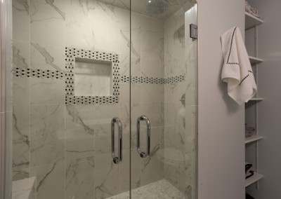 Home remodeling, bathroom remodeling, Northern Virginia remodeling, Daniels Design and Remodeling, bathroom ideas, glass shower, tile shower, tile pattern,