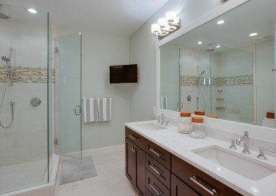 Bathroom remodel, home remodel, Northern Virginia remodel, bathroom design, granite countertops, white sink, shower tv, shower mirror, glass shower,